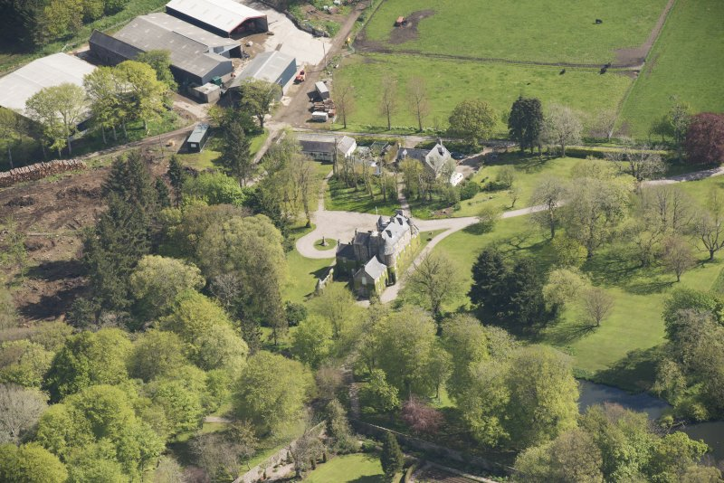 Oblique aerial view of Schivas House, looking to the ENE.