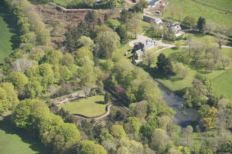 Oblique aerial view of Schivas House, looking to the N.