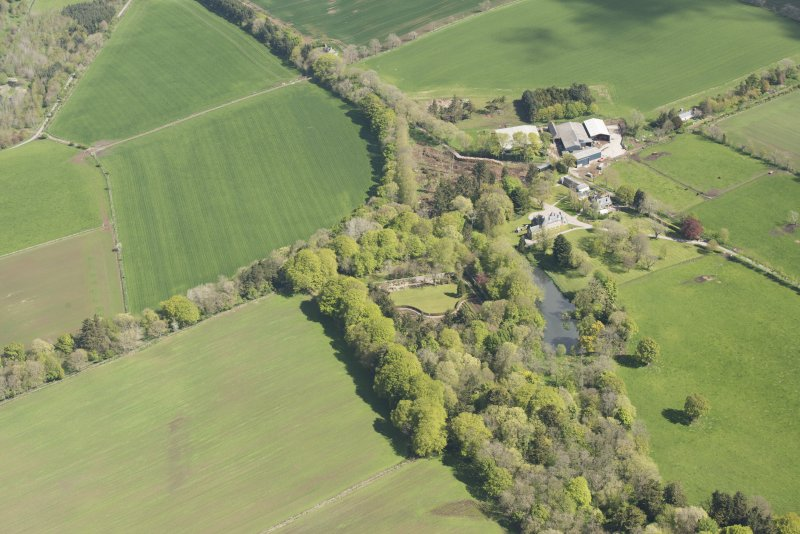 General oblique aerial view of Schivas House, looking to the N.