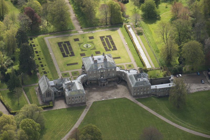 Oblique aerial view of Haddo House, looking to the SE.