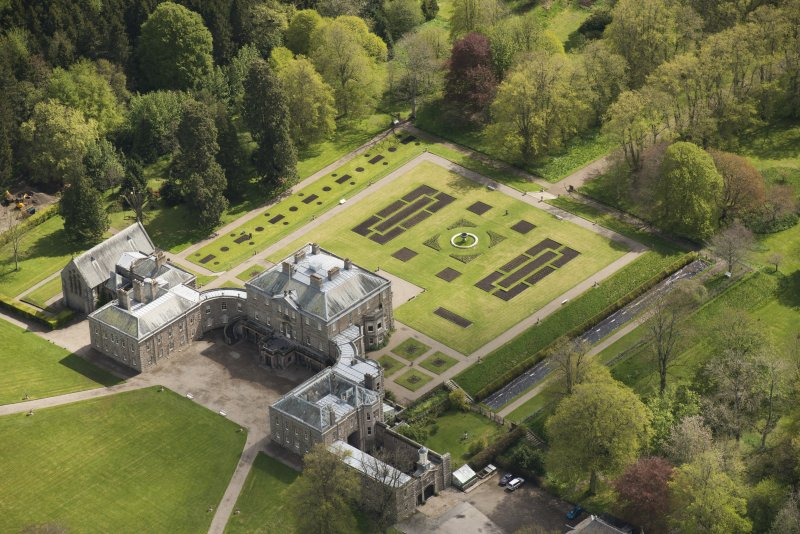 Oblique aerial view of Haddo House, looking to the ENE.