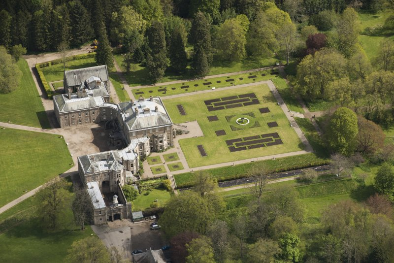 Oblique aerial view of Haddo House, looking to the NE.