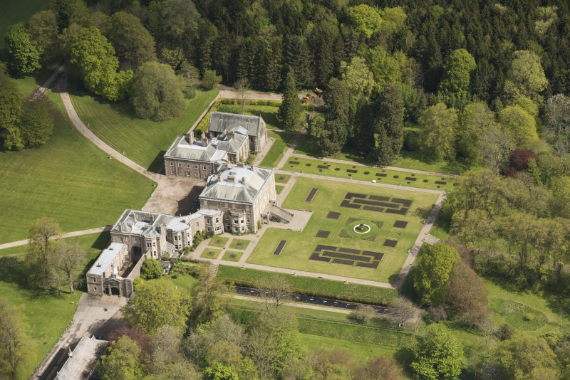 Oblique aerial view of Haddo House, looking to the NNE.