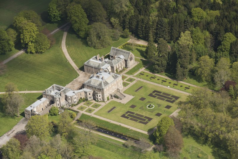 Oblique aerial view of Haddo House, looking to the N.