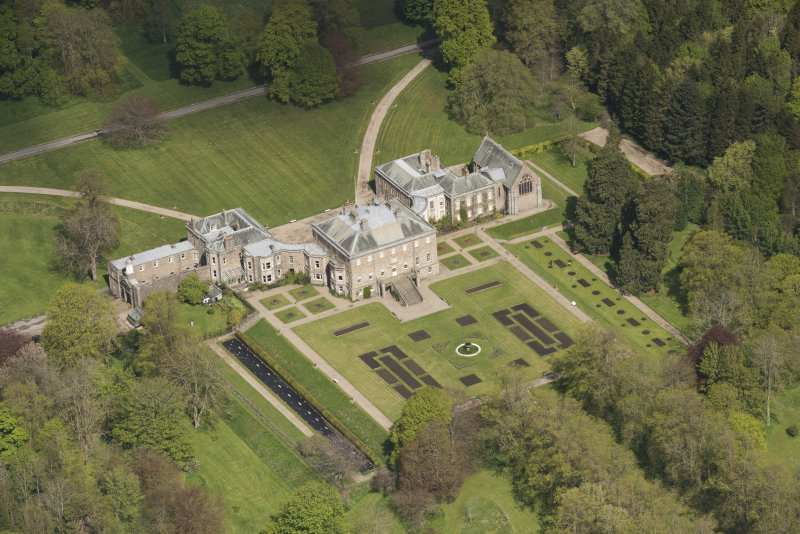 Oblique aerial view of Haddo House, looking to the NNW.