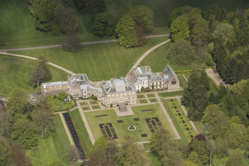 Oblique aerial view of Haddo House, looking to the NW.