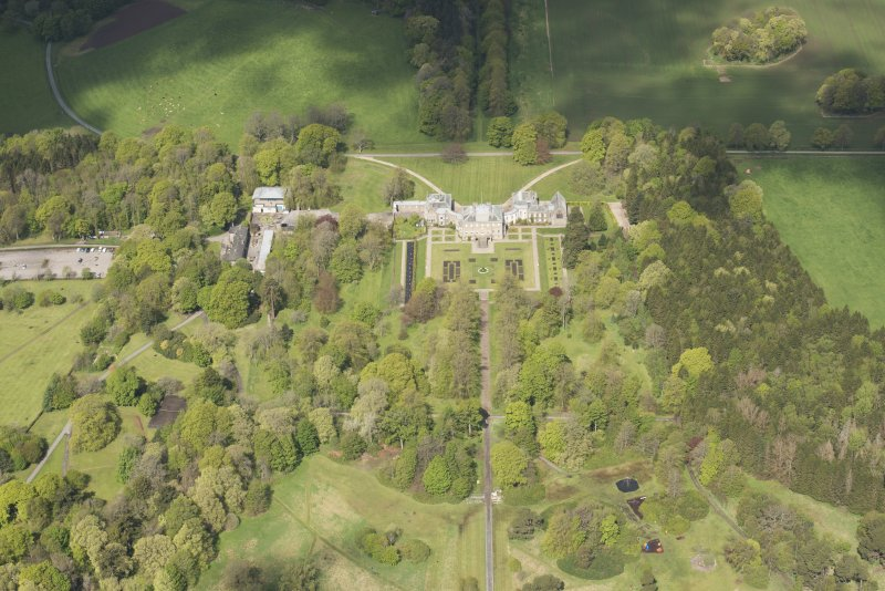 General oblique aerial view of Haddo House, looking to the NW.