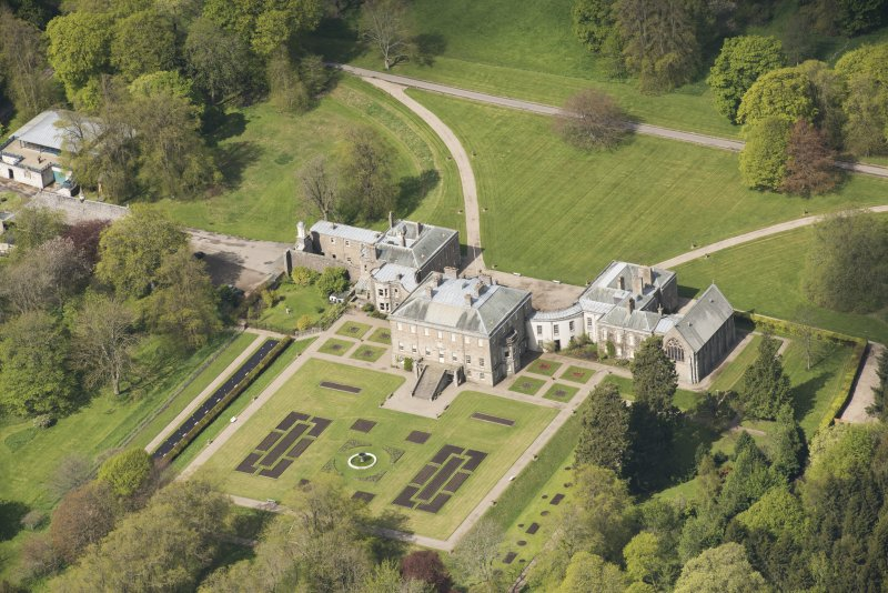 Oblique aerial view of Haddo House, looking to the WNW.