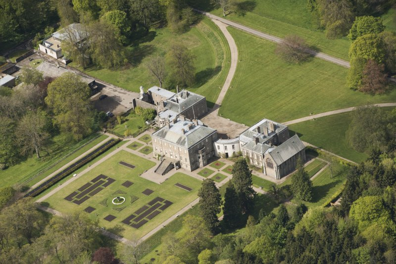 Oblique aerial view of Haddo House, looking to the W.