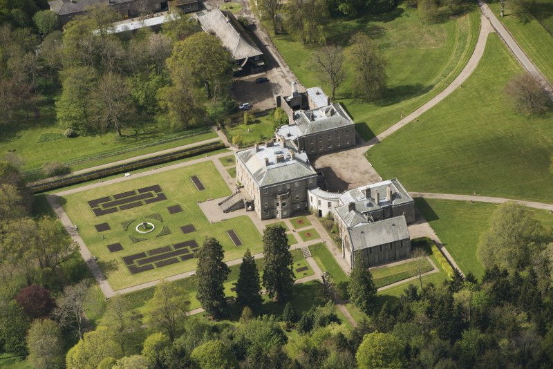 Oblique aerial view of Haddo House, looking to the WSW.