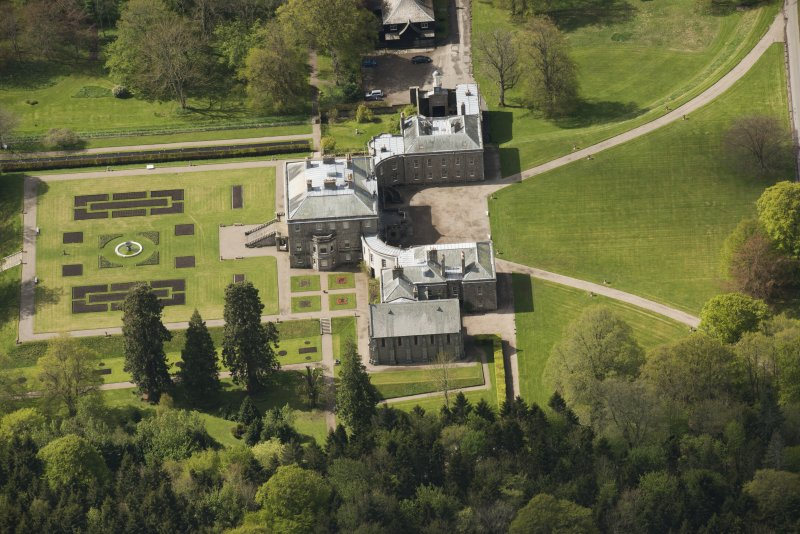 Oblique aerial view of Haddo House, looking to the SW.