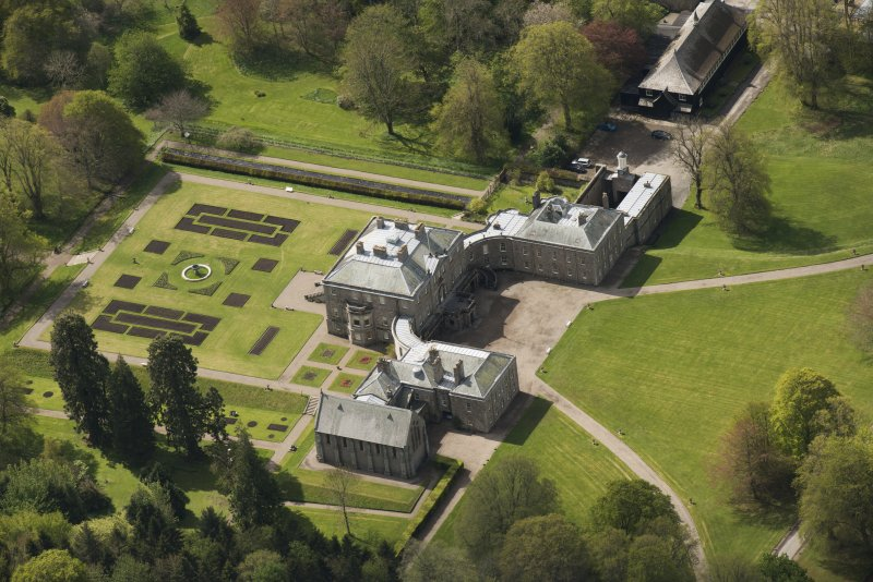 Oblique aerial view of Haddo House, looking to the S.
