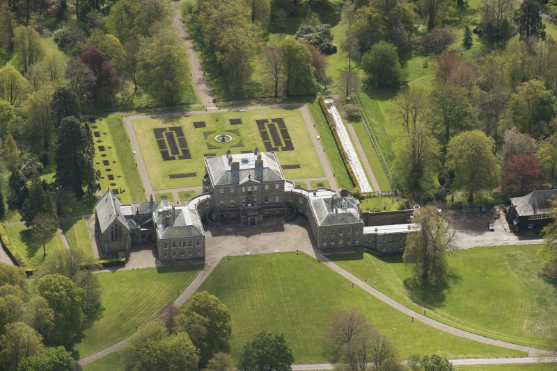 Oblique aerial view of Haddo House, looking to the ESE.