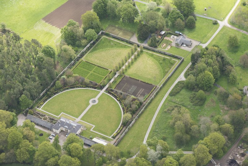 Oblique aerial view of Haddo House walled garden, looking to the SE.