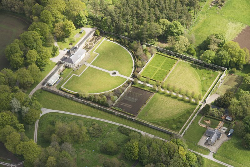 Oblique aerial view of Haddo House walled garden, looking to the NE.