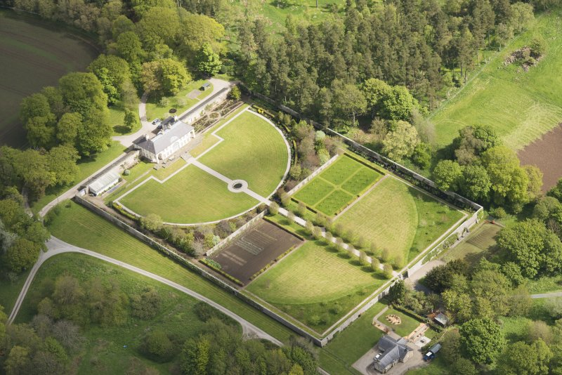 Oblique aerial view of Haddo House walled garden, looking to the NNE.