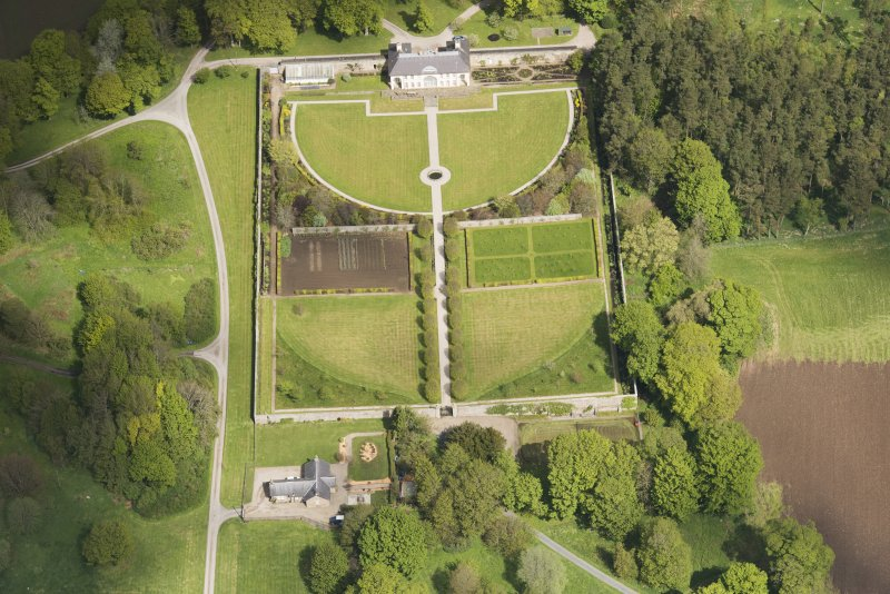 Oblique aerial view of Haddo House walled garden, looking to the NNW.