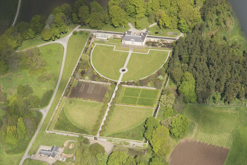 Oblique aerial view of Haddo House walled garden, looking to the NW.