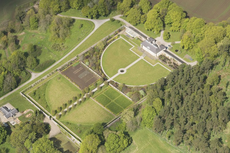 Oblique aerial view of Haddo House walled garden, looking to the WNW.