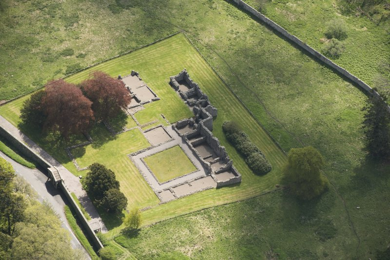 Oblique aerial view of Deer Abbey, looking to the ESE.