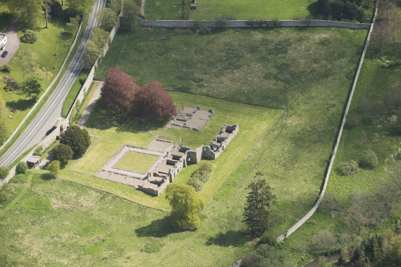 Oblique aerial view of Deer Abbey, looking to the ENE.