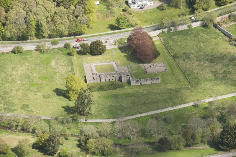 Oblique aerial view of Deer Abbey, looking to the NNE.