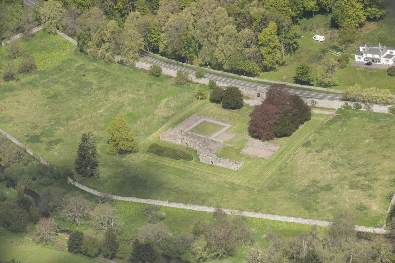 Oblique aerial view of Deer Abbey, looking to the NNW.