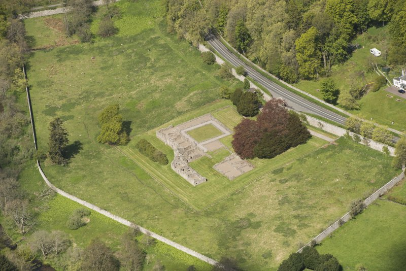 Oblique aerial view of Deer Abbey, looking to the NW.