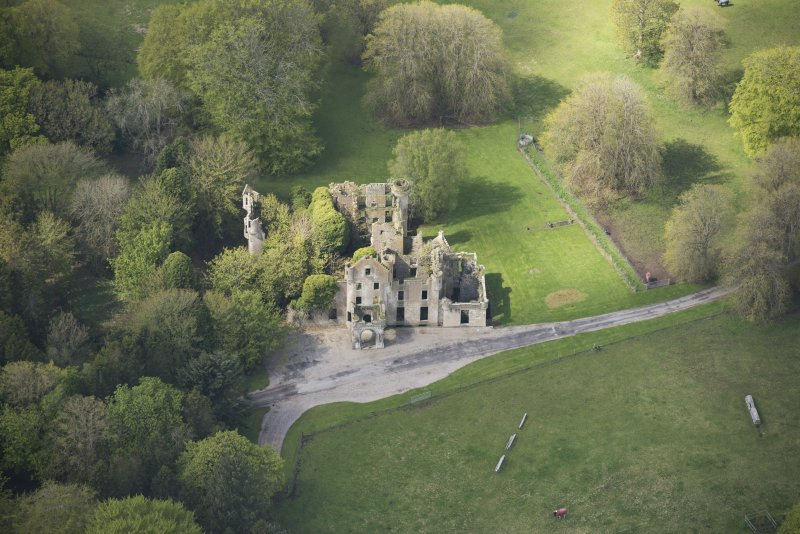 Oblique aerial view of Brucklay Castle, looking to the WSW.