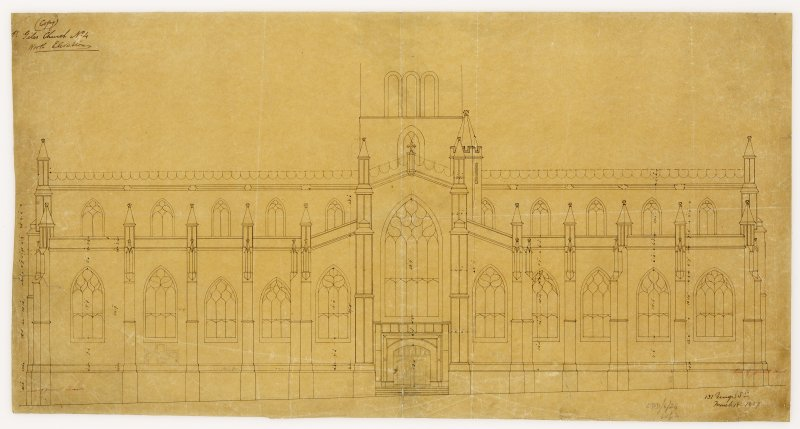 North Elevation with measurements, St Giles Cathedral, Ednburgh. Signed and Dated '(W Burn) 131 George Street  March 18th 1829'.