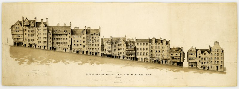 West and Upper Bow 'Elevation of Houses East Side & c. of West Bow'. Lithograph. Framed and glazed.