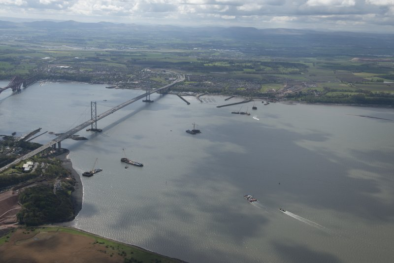 General oblique aerial view of the River Forth centred on the new  Forth Bridge crossing, looking to the SSE.