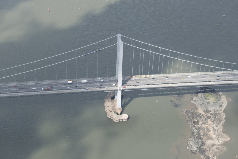 Oblique aerial view of the Forth Road Bridge, looking to the W.