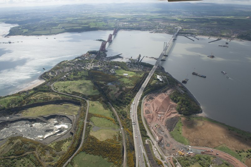 General oblique aerial view of the River Forth centred on the Forth Road Bridge, looking to the ESE.