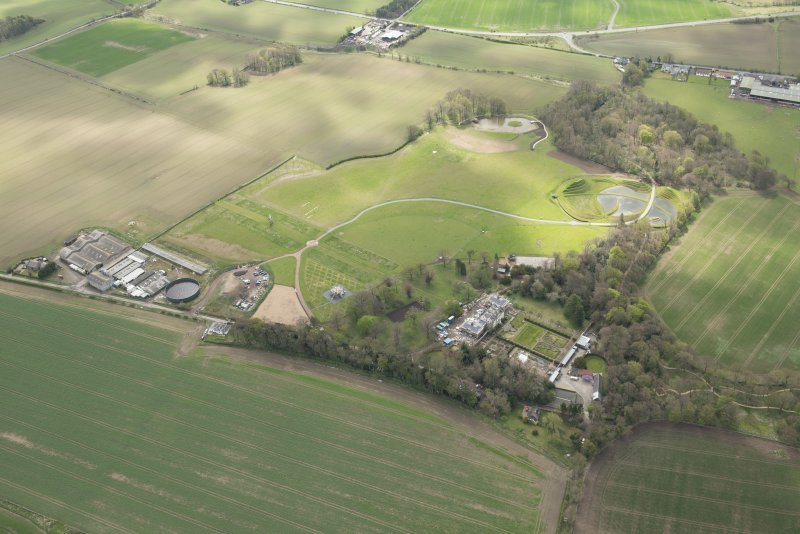 Oblique aerial view of Bonnington House Estate, looking to the SSE.