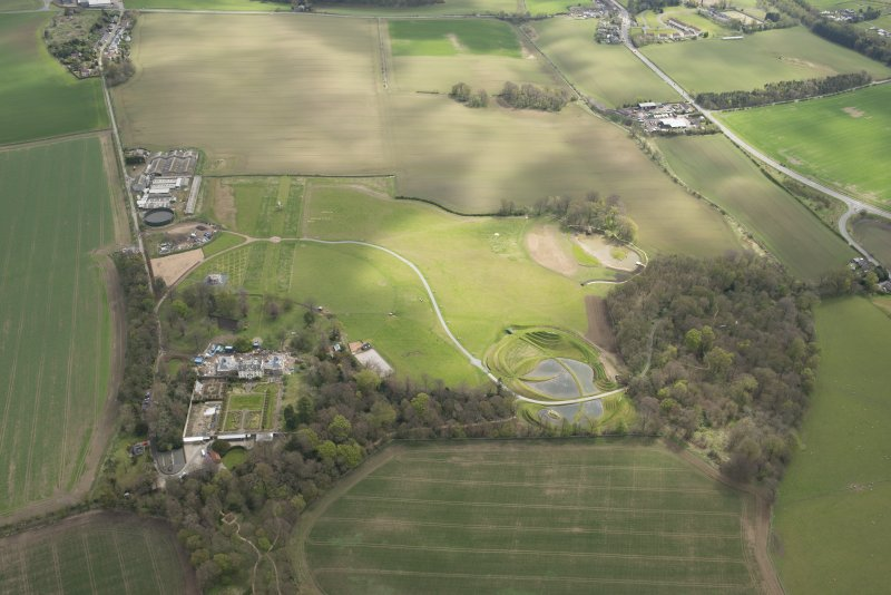 Oblique aerial view of Bonnington House Estate, looking to the E.
