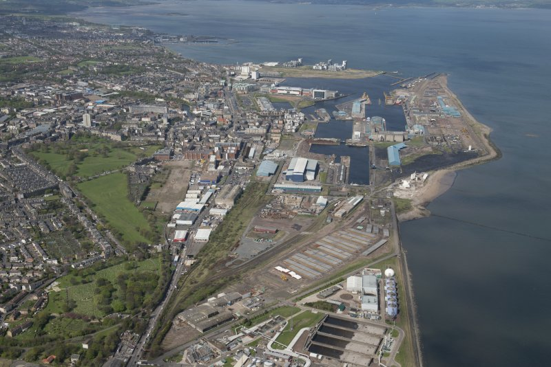 General oblique aerial view of Leith Docks centred on the Western Harbour, looking to the NW.
