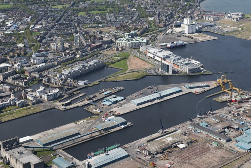 General oblique aerial view of Leith Docks centred on Edinburgh Dock, looking to the SW.