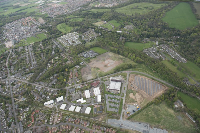 Oblique aerial view of Solar Panel field, Hardengreen Business Centre, looking to the E.