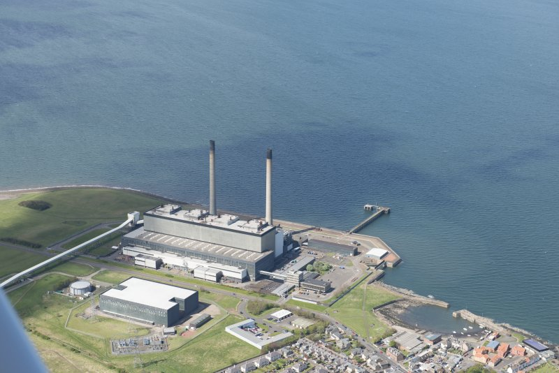 Oblique aerial view of Cockenzie Power Station, looking to the NW.
