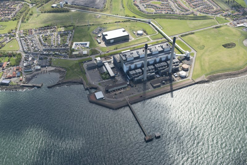 Oblique aerial view of Cockenzie Power Station, looking to the SE.