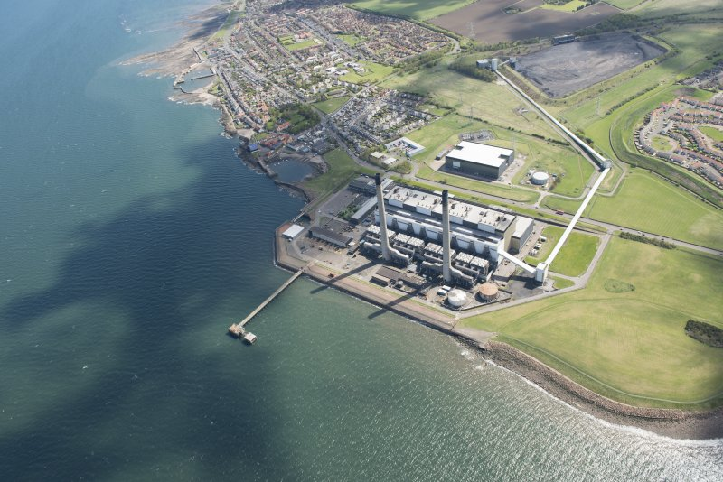 Oblique aerial view of Cockenzie Power Station, looking to the SSE.