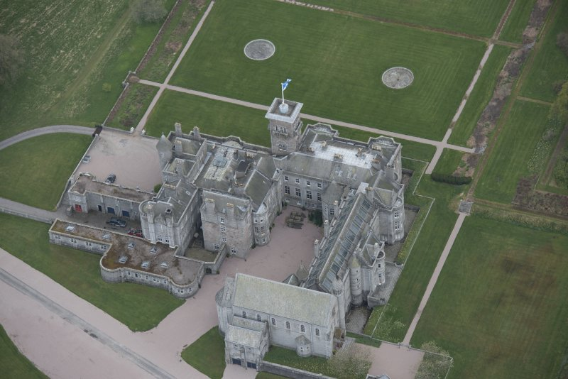 Oblique aerial view of Dunecht House and chapel, looking to the SSE.