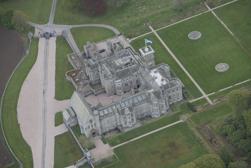 Oblique aerial view of Dunecht House and chapel, looking to the ESE.