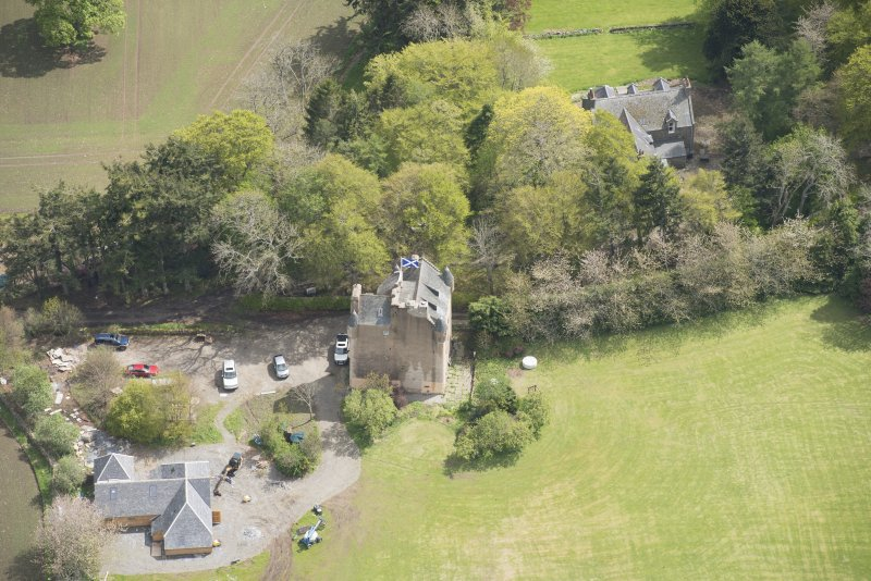 Oblique aerial view of Tillycairn House, looking to the S.