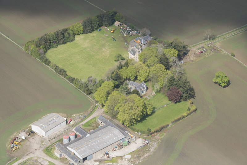 Oblique aerial view of Tillycairn House, looking to the N.
