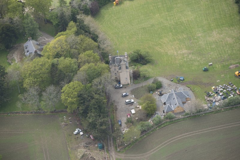 Oblique aerial view of Tillycairn House, looking to the W.