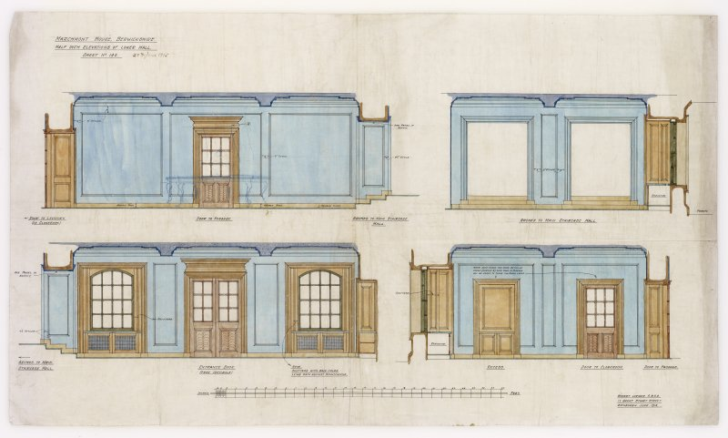 Interior elevations of lower hall, Marchmont House. Additions and alterations for R F McEwen.