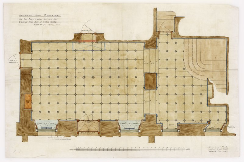 Plans of lower hall and staircase showing marble floors. Additions and alterations for R F McEwen.
