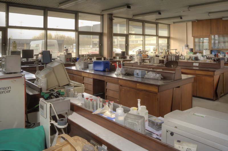 Interior. General view of chemistry/testing lab.